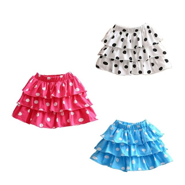 Baby Girls Skirts Korean Girls Dots Printed Layers Summer Skirts girls summer skirt kids clothes