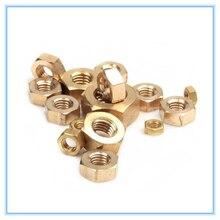 Hex Nuts Brass M2.5 Copper M4 M1.6 M10 M3 M5 M6 M8 50pcs