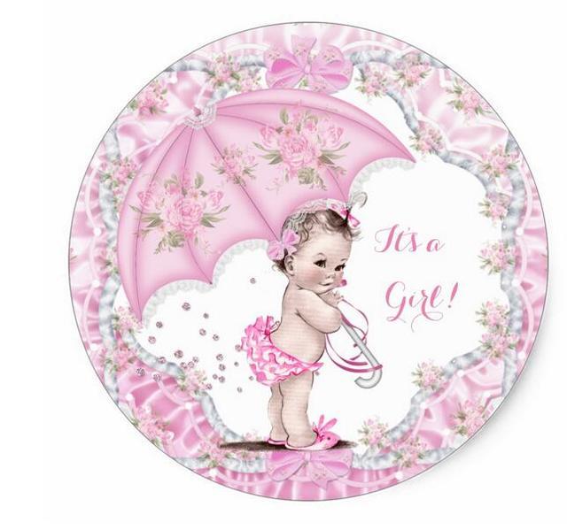1.5inch Vintage Baby Shower Girl Flowers Pink Umbrella Classic Round Sticker