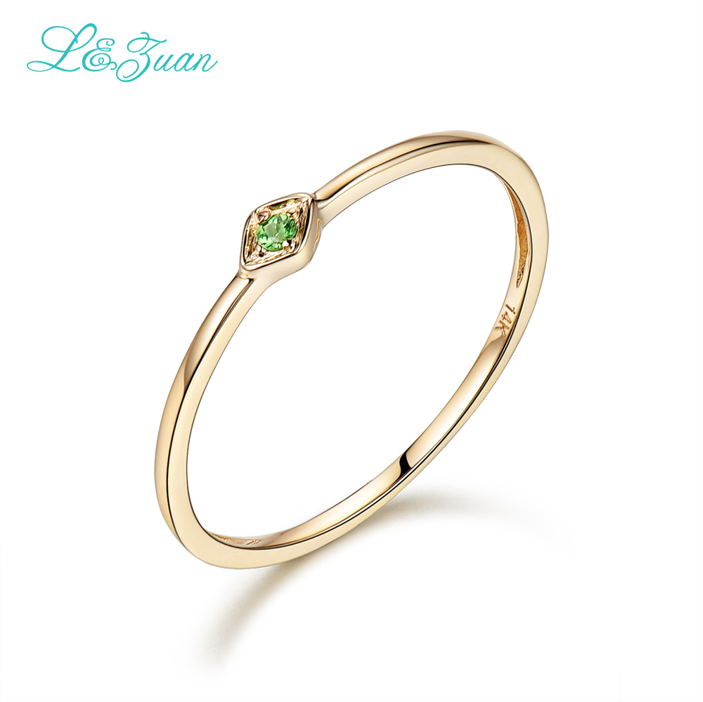 L&Zuan 14K Yellow Gold 0.029ct Natural Round Small Rings for Women Green Gemstone Party Ring Fine Jewelry Princess 0016-2
