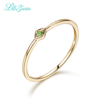 L&Zuan 14K Yellow Gold 0.029ct Natural Round Small Rings for Women Green Gemstone Party Ring Fine Jewelry Princess 0016 2