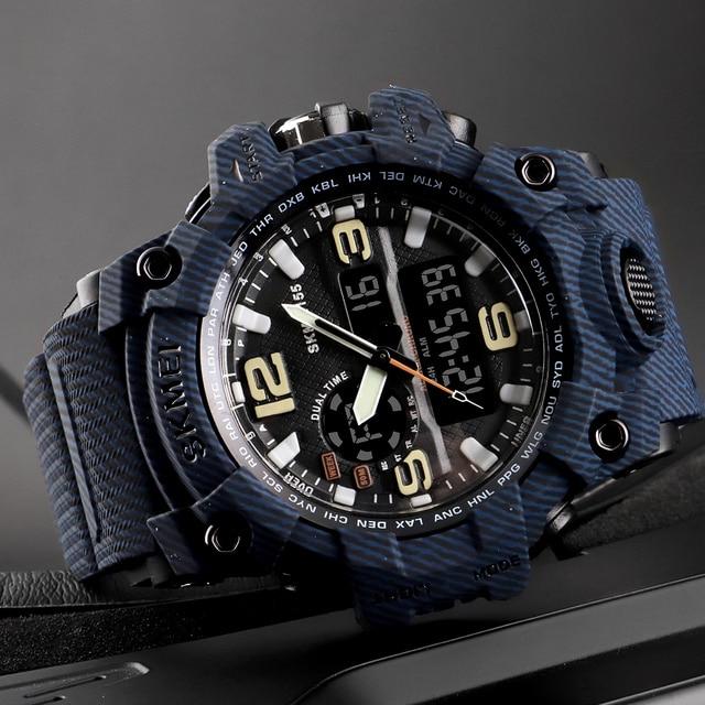 975928061c27 SKMEI 1155 relojes deportivos al aire libre reloj Digital de cuarzo de gran  Dial 5 bar impermeable relojes pantalla Dual pulsera reloj de hombre
