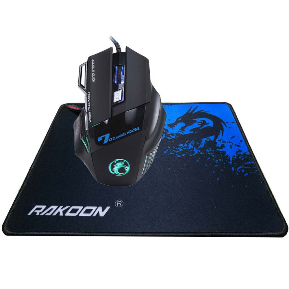 5500 DPI 7 Botón Ratón Gamer Gaming Multi Color LED Óptico USB Cableado Gaming Mouse + Rakoon Gaming Mouse Pad Regalo para Pro Gamer