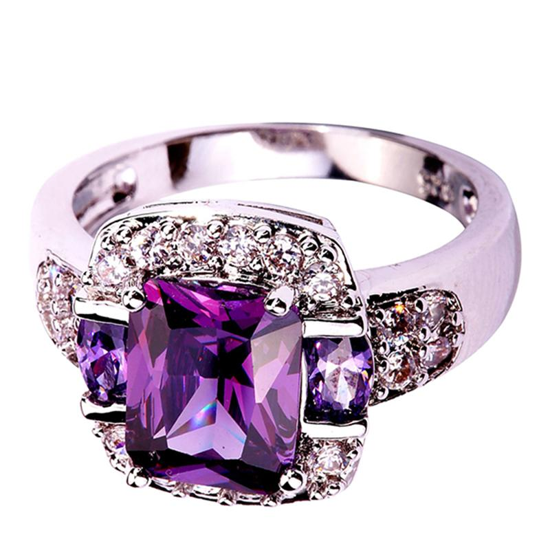 2015 Retro Style Unisex Rings New Fashion Jewelry Purple Amethyst 925 Silver Ring Size 7 8 9 10
