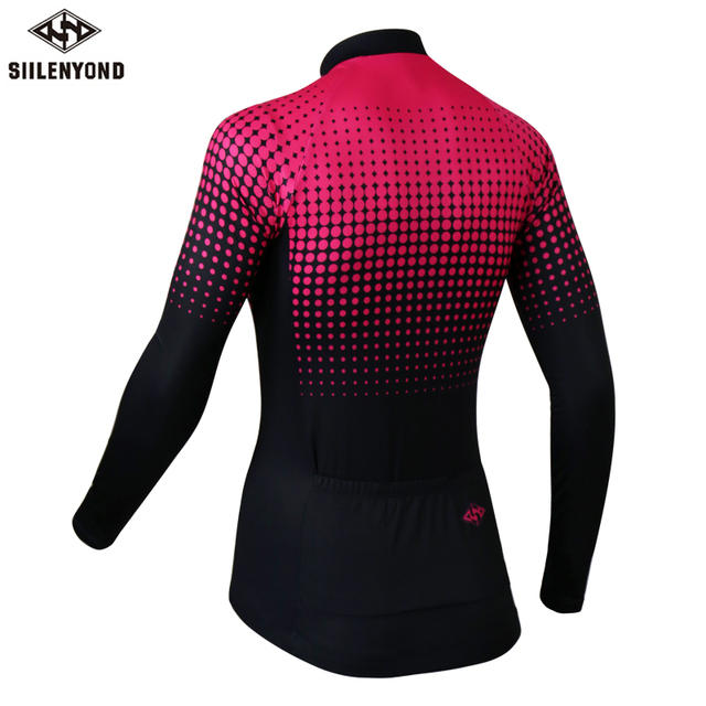 Siilenyond 2019 Women Winter Long Sleeve Cycling Jersey Keep Warm MTB Bicycle Cycling Clothes Thermal Fleece Cycling Clothing 1