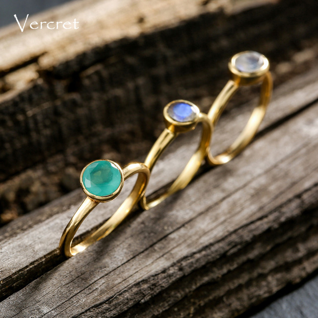 Vercret moonstone ring set handmade 925 sterling silver ring gold plate fine jewelry for women gifts sp