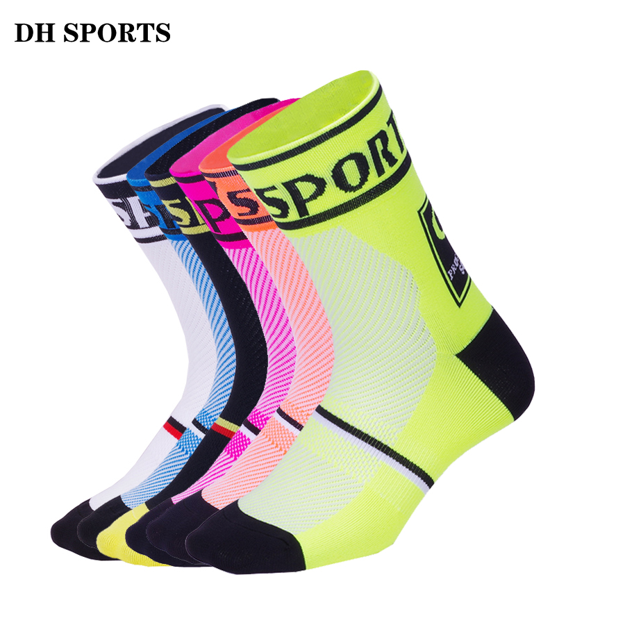 DH SPORTS New Professional Cycling Sport Compression Socks Top Quality Racing Riding Brand Sock Outdoor Mountain Road Bike Socks