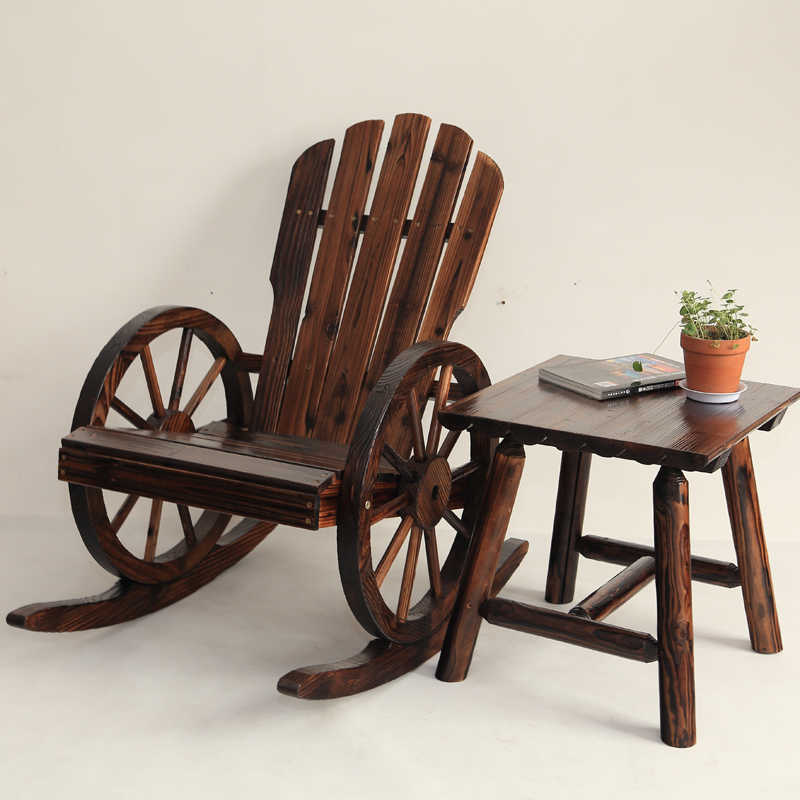 Tremendous Wagon Wheel Wood Adirondack Style Garden Chair Garden Furniture Rocking Chair Rocker Patio Garden Wooden Bench Outdoor Furniture Squirreltailoven Fun Painted Chair Ideas Images Squirreltailovenorg