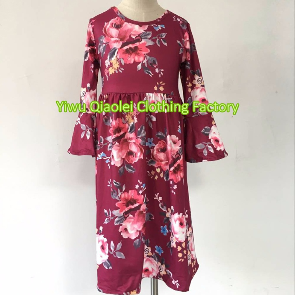 New style Wholesale children boutique kids clothes Baby Girls Clothing long dress