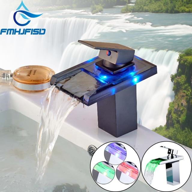 Waterfall Spout Basin Faucets Chrome ORB LED Bathroom Faucet Single Handle Single Hole Free Shipping