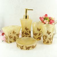 Beautiful butterfly floral 5PCS Resin Bathroom Accessories Set Soap Dispenser/Toothbrush Holder/Tumbler/Soap Dish Gold