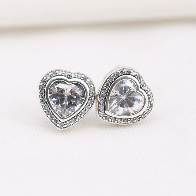 De alta qualidade do amor do coração brinco com limpar CZ 925 Sterling brinco jóias para mulheres moda jóias Original ES00001