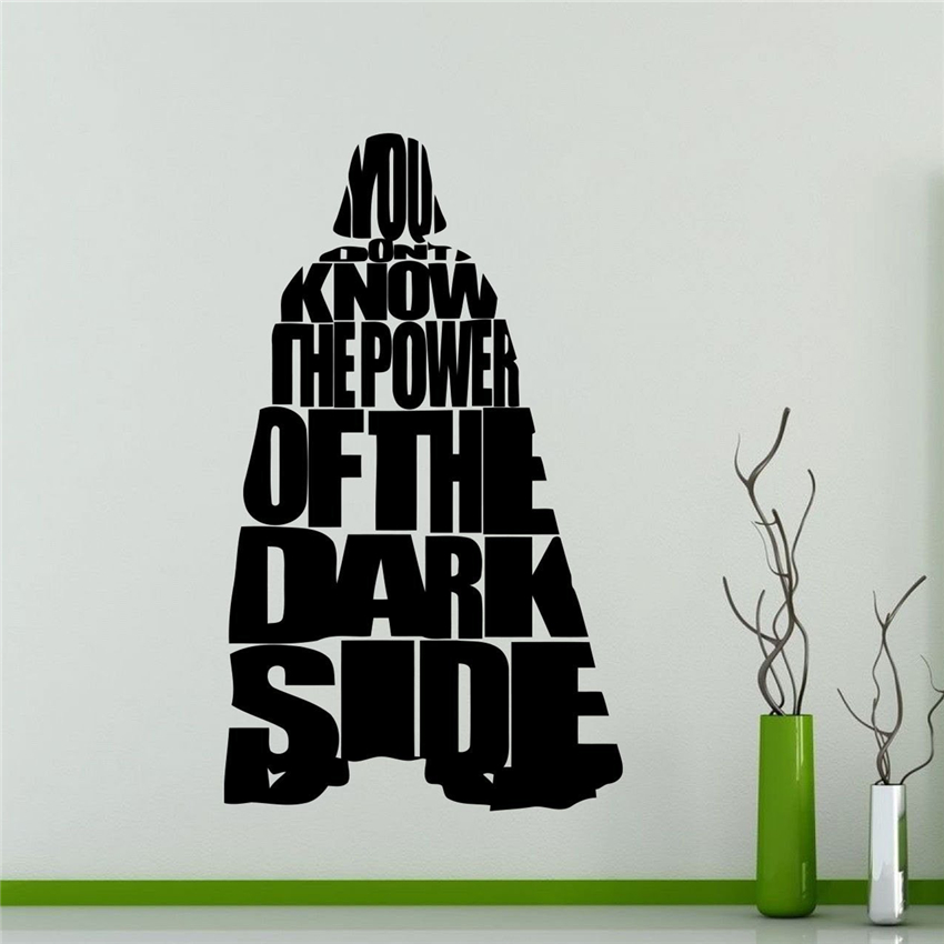 Darth Vader Star Wars Wall Vinyl Decal Home Decor Teen Kids Room Nursery Art Decor Lettering Vinyl Mural Wall Sticker M678