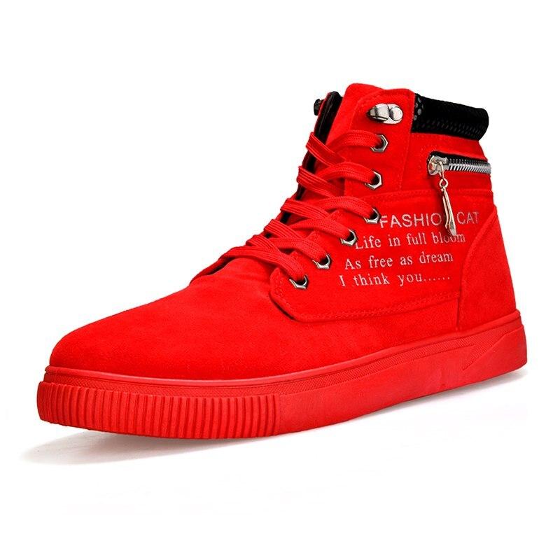 ac5441f47 Comprar Nova Chegada do Outono E do Inverno Dos Homens Botas de Moda  Vermelho Sapatos Para Homens Botas de Tornozelo Mulheres de Lazer Botas  Sola De ...