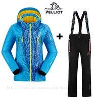 Известный бренд Pelliot женские лыжные костюмы куртки + брюки теплые зимние водонепроницаемые лыжные сноубординга комплект одежды Лыжная курт