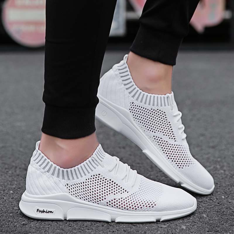 Breathable Causal Sock Shoes for Man Black White Mesh Tenis Shoes Men Outdoor Walking Sneakers Male Comfortable Summer Sneakers сумка nano de la rosa nano de la rosa na003bwppw35