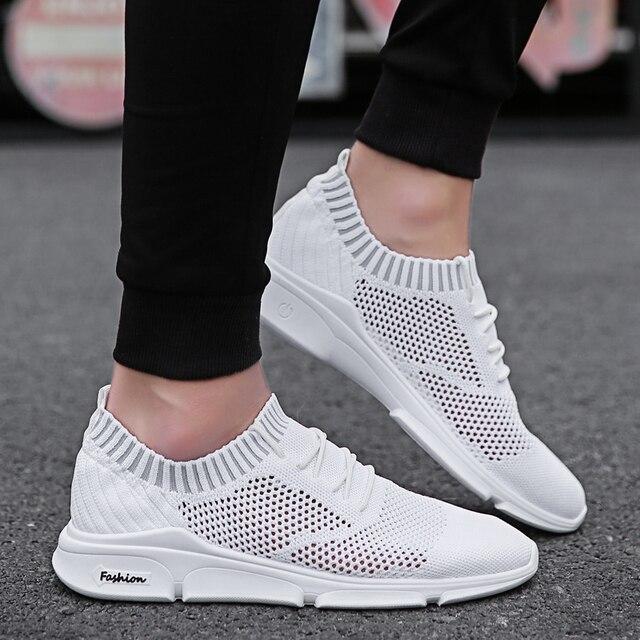 Zapatos casuales transpirables para hombre negro blanco malla Tenis zapatos  hombres al aire libre caminar Zapatillas 796704aee651