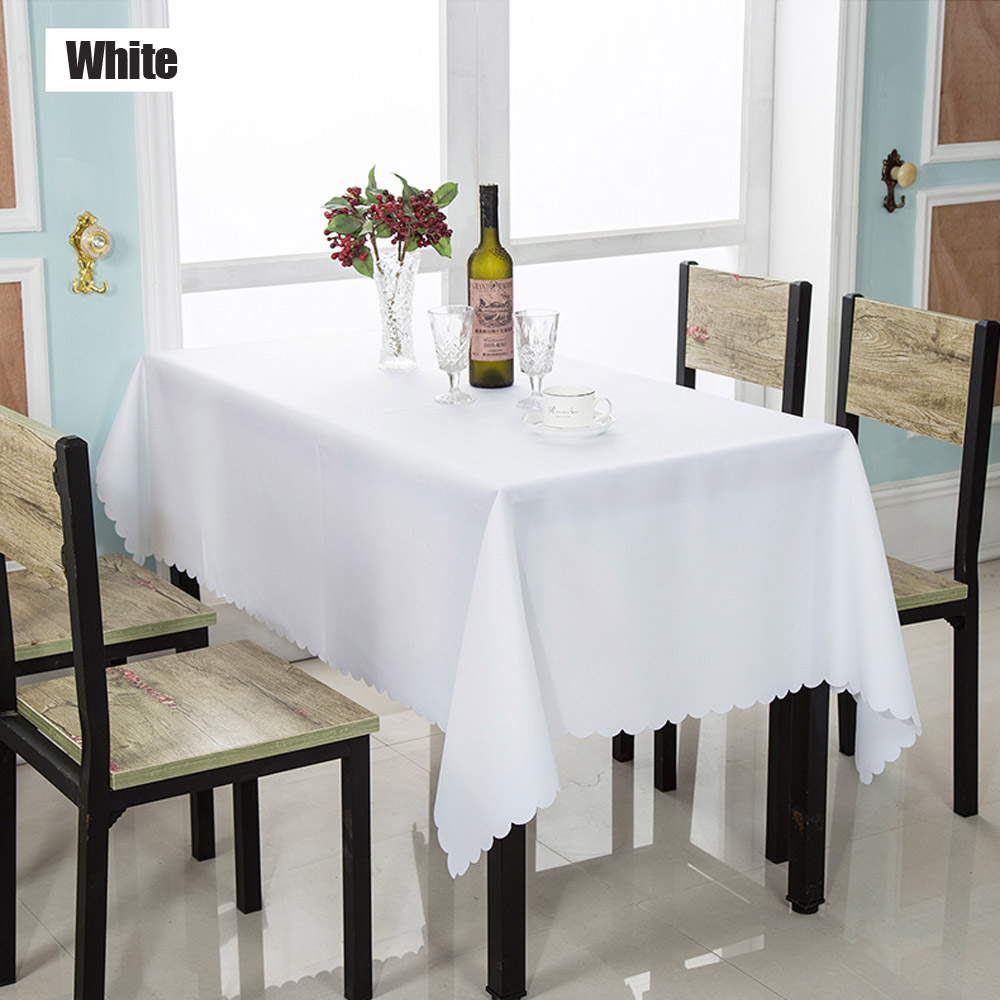 1PC 140*180cm Multi Size White Solid Polyester Table Cloth For Hotel Restaurant, Wedding Party Rectangle Plain Tablecloth