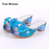 Children High Heels Shoes Girls Cool Slippers Fashion Sequins Crystal Princess Sandals 2017 Summer New Beaded