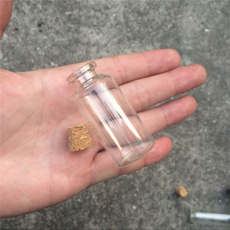 20ml Empty Glass Bottles with Cork Glass Vials Jars Pendant Containers for Sand Liquid Jewelry Pendants