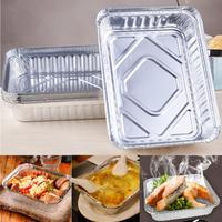 8Pcs Set BBQ Aluminum Foil Trays Disposable Food Container Plates Bowls Baking Party Pan With Lid