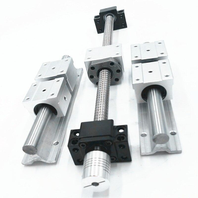 6set SBR16-300/500/800mm linear rail+3set ballscrew RM1605+3set BK/BF12+3pcs nut bracket+3 coupler CNC set