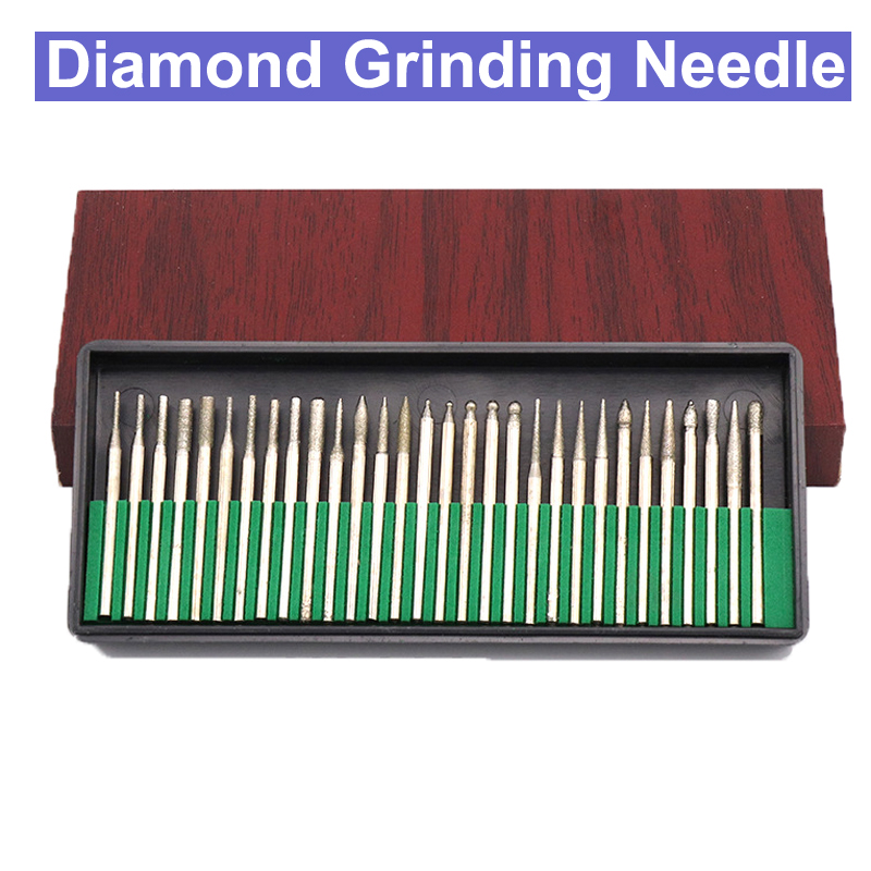 30pcs 2.35mm 3mm Shank Diamond Grinding Burr Needle Point Engraving Carving Polishing Glass Jade Stone Drill Bit Rotary