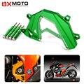Para kawasaki z800 z 800 2013-2015 acessórios da motocicleta cnc de alumínio do painel verde esquerda guarda motor tampa da corrente de proteção