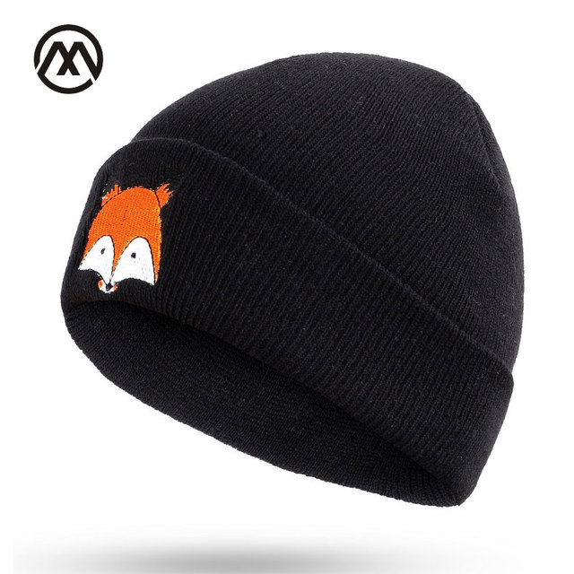 a4e49b979f4 New autumn and winter ladies knit hats small fox embroidery outdoor warm  comfortable unisex slouchy beanie male caps turban bone