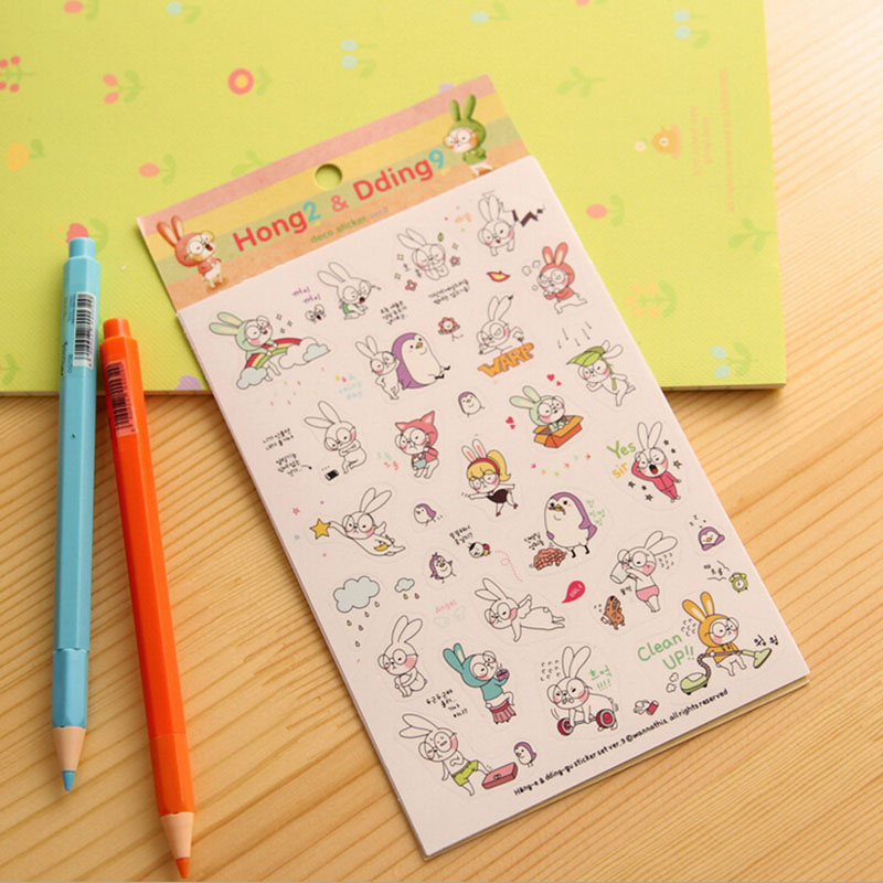 E51 6 Sheets Cute Korean Kawaii Rabbit Stickers DIY Label PVC Phone Car Styling Decorative Stickers Stationery Kids Gift 10 pcs diy car stickers travel suitcase wall pencil box bike phone card sliding plate of mixed graffiti car styling stickers