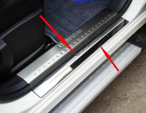 Car Accessories For Nissan Qashqai Door Sill J10 Scuff Plate Stainless Steel Door Sills Guard Car Styling Sticker 2007-2013 4pcs for led stainless steel door sill scuff plate for volkswagen vw jetta mk6 2011 2013 car accessories car styling for