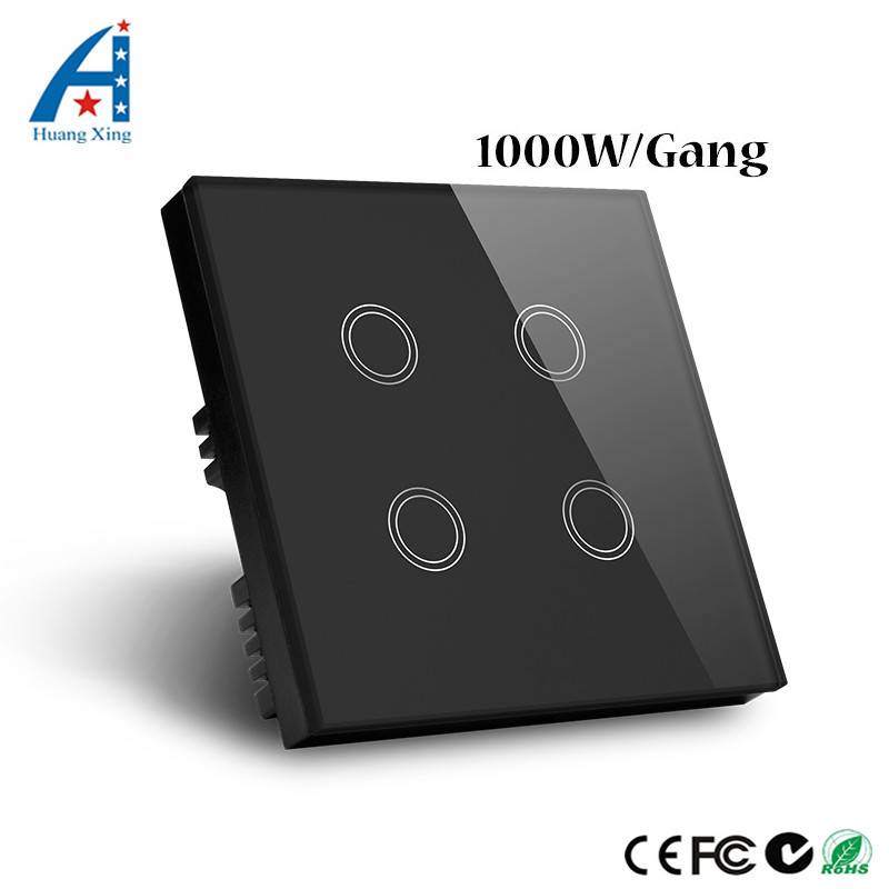 HUANGXING, UK Standard New Touch Switch 1000W 4Gang1Way, White Glass Panel Wall Switch, Manufacturer of Light Switch, 220V 6A smart home uk standard crystal glass panel wireless remote control 1 gang 1 way wall touch switch screen light switch ac 220v