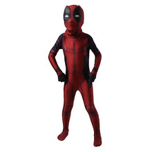 Kids Deadpool Cosplay Costume Spandex Lycra Zentai Second Skin Tight Suit Boys One Piece Full Body Halloween Party Bodysuit