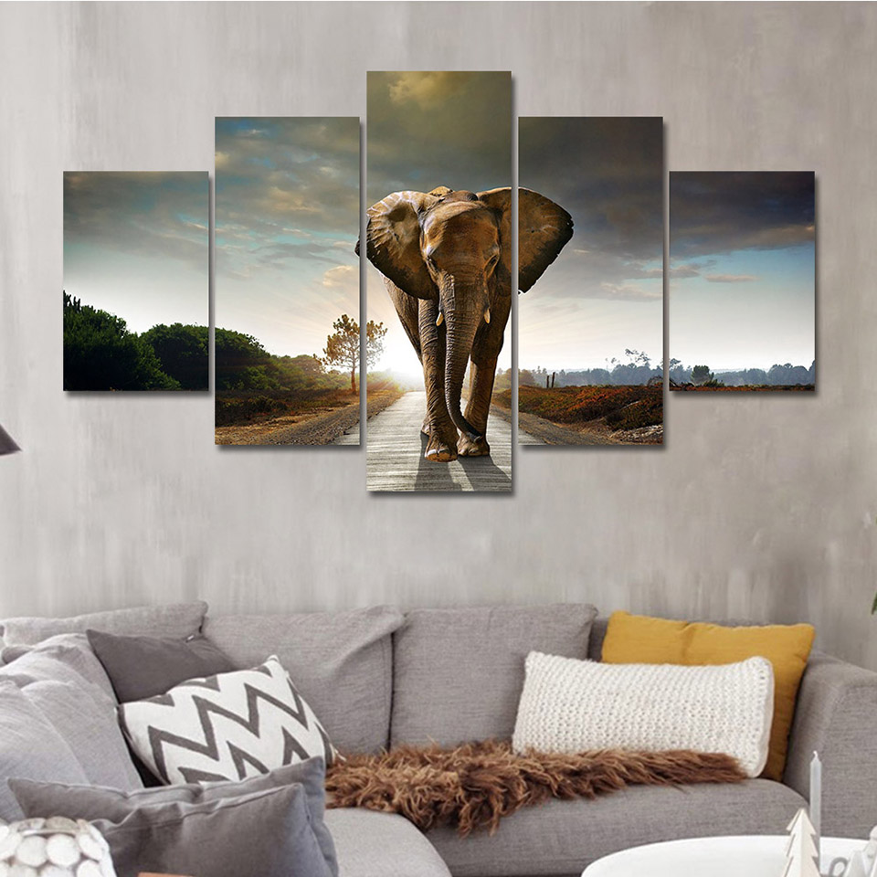 Elephant, Home, Canvas, Piece, Living, Painting