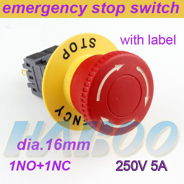 8pcs/lot HABOO installation diameter16mm mushroom head emergency s push button switch 1NO+1NC with label 5A 250V