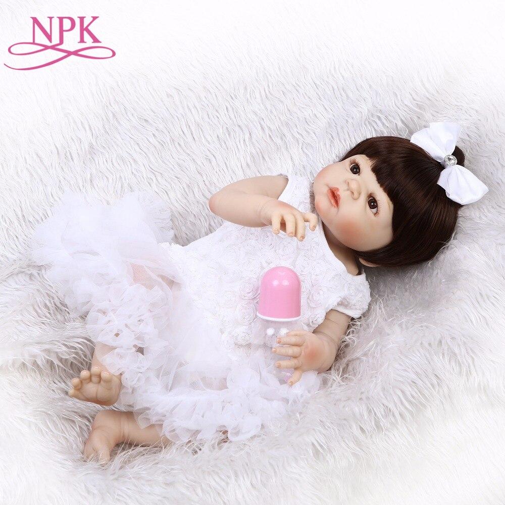 купить NPK 55 cm Bebe Doll Reborn Realistic Newborn Doll Gift For Kids Birthday Reborn Doll for Girls Reborn Full Silicone Toys по цене 3722.18 рублей