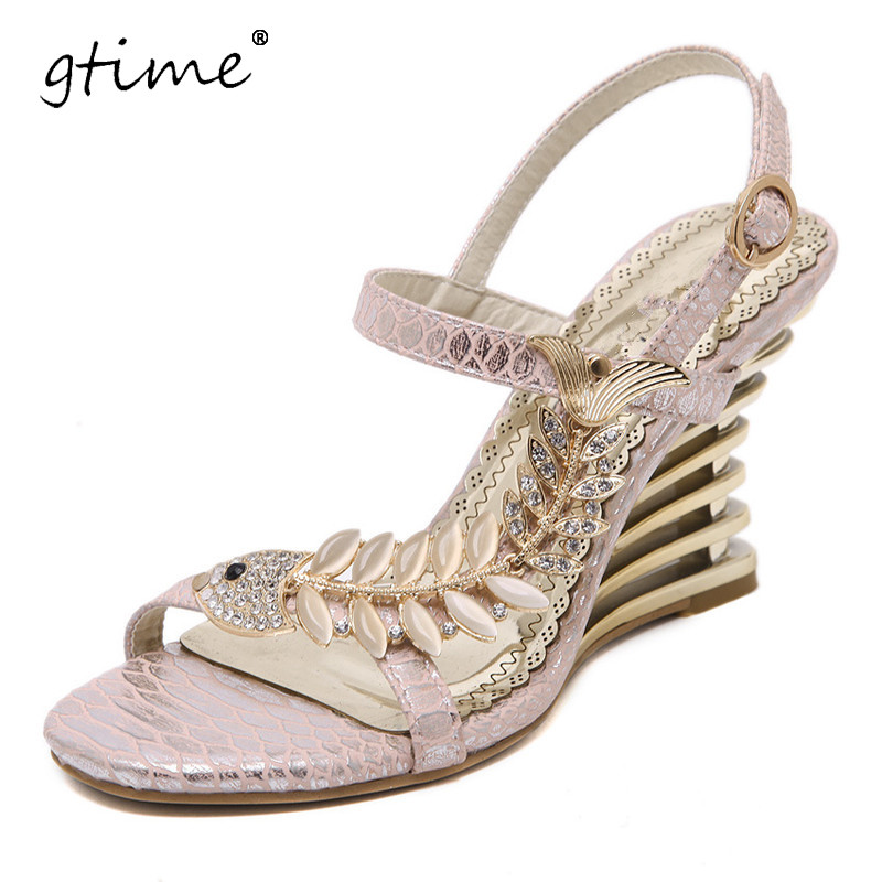 GTIME Crystal Gladiator Sandals 2017 New Bling Sexy High Heels Platform Wedges Sandals Casual Gold Shoes Woman # ZWB58 2017 suede gladiator sandals platform wedges summer creepers casual buckle shoes woman sexy fashion beige high heels k13w