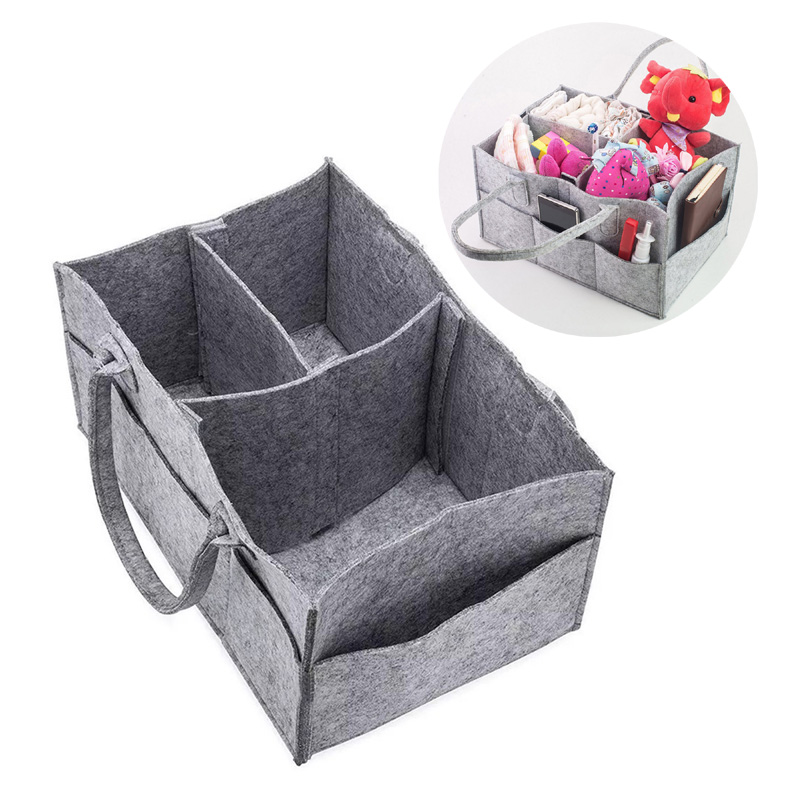 Baby Diaper Candy Organizer Nappy Bag Portable Baby Toys Storage Bag Multi-function Foldable Felt Basket Pouch Fireplace Bag New