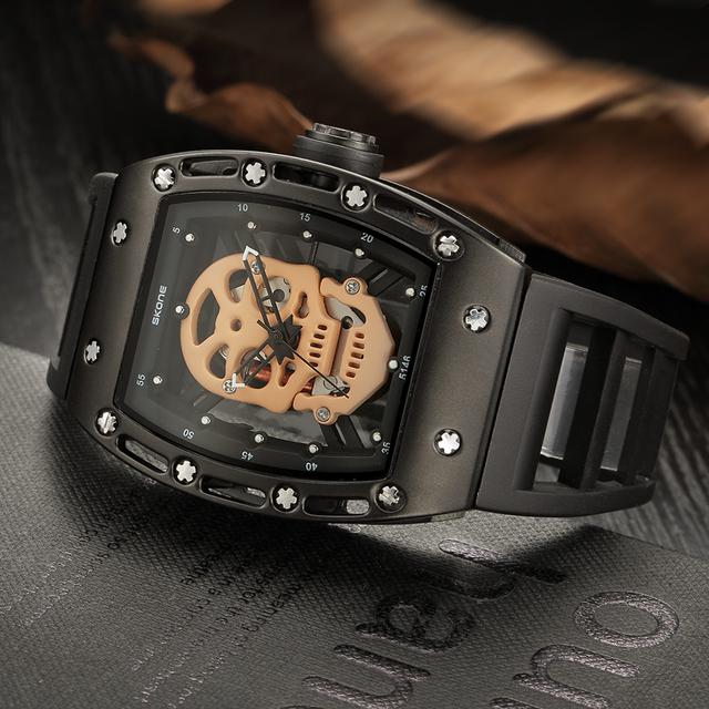 Skone reloj de silicona hueco macho diseño único cráneo relojes hombres marca de lujo deportes cuarzo reloj de pulsera relogio masculino