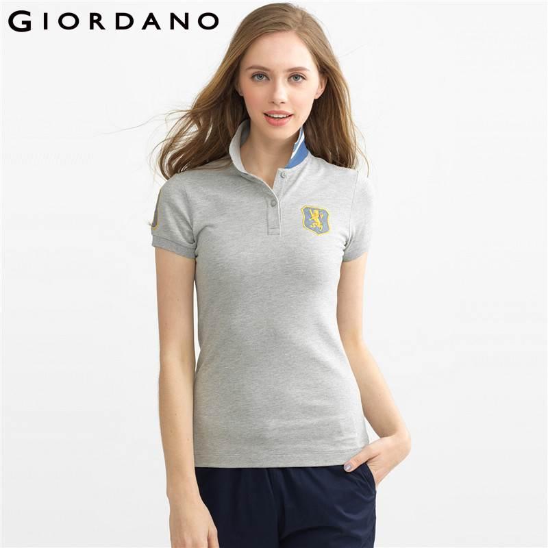 giordano women polo lion embroidery polo shirt short sleeves tops poloshirt damen summer tops. Black Bedroom Furniture Sets. Home Design Ideas