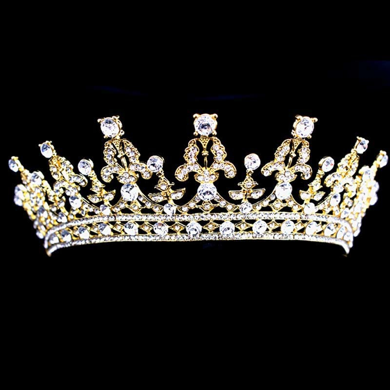 Pageant Prom Gold Color Wedding Bridal Vintage Imperial Medieval Tiara Crown Crystal Rhinestone Princess Bride Hair Accessories