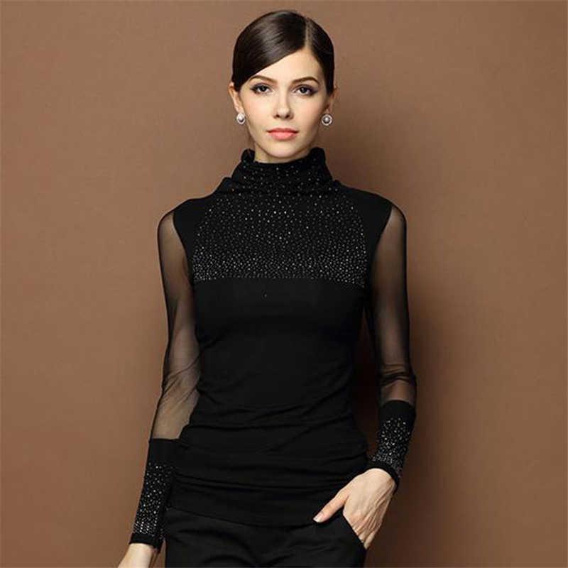 2018 Осень Sexy сексуальные кружевные топы для женщин тонкий плюс размер кружевная блузка с длинным рукавом Повседневная рубашка с бисером ажурная женская одежда