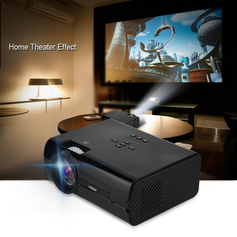 16.7K HD Mini Projector 1000:1 AV/VGA/USB/SD Card/HDMI/TV Input Home Theater Projector-UK Plug gm50 1080p hd home theater led projector w sd hdmi vga av usb white black eu plug