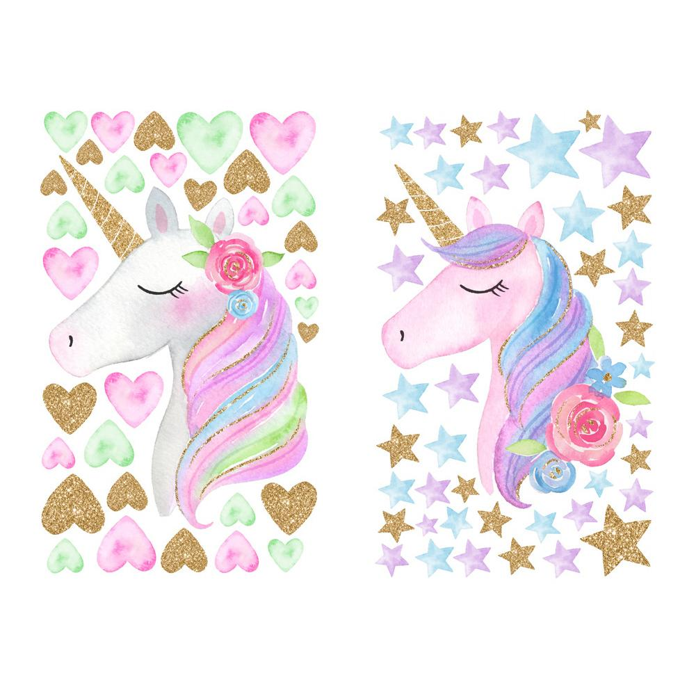 dekorasi rumah kartun lucu unicorn bintang hati stiker