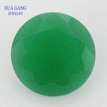 Frete grátis tamanho 3.0-12mm verde translúcido forma redonda fosco fundo solto máquina de pedras de vidro corte pedras sintéticas para jóias