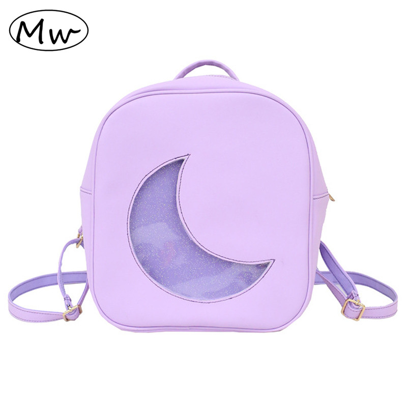 Moon Wood Candy Color Small Leather Backpack 2019 Summer New Transparent Moon Backpack School Bags For Teenage Girls  Book Bag