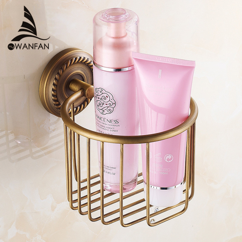 Paper Holders Antique Solid Brass Toilet Basket Bath Shelf Shampoo Storage Wall Mount Bathroom Accessories Tissue Holder HJ-1317 creative style antique brass toilet paper holder bath storage basket wall mount