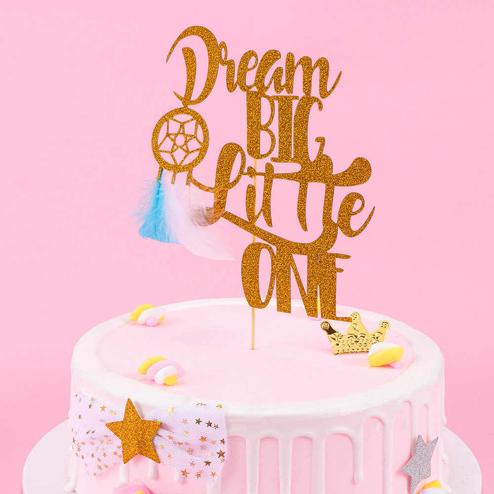 1pc DIY 1st Birthday Party Supplies Gold Glitter Paper Cake Toppers Dream Catcher Baking Decor