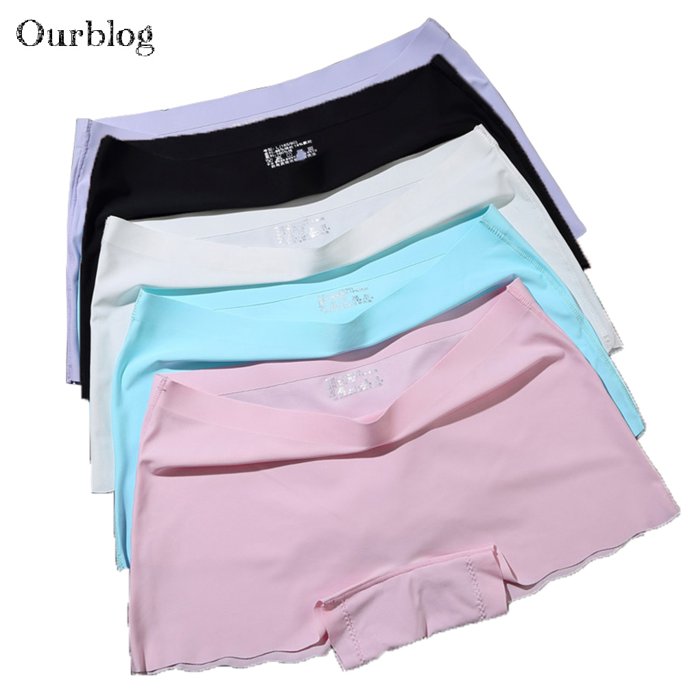 OURBLOG 4pieces/lot Women's Safety Short Pants Woman Seamless   Panties   Ladies Knickers Underwear Purple Woman Comfort   Panties