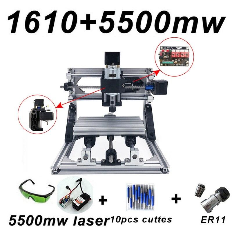 CNC1610 Machine de gravure Laser ER11 500 mw 1500 mw 5500 mw tête bois routeur PCB fraiseuse bois sculpture Machine bricolage GRBL